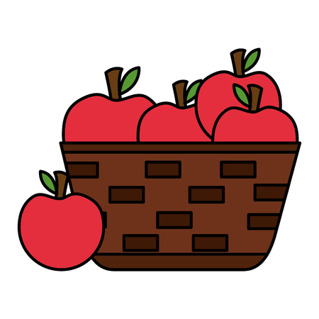 wicker basket with fresh apple vector illustration vector illustration Banque d'images - 126821416