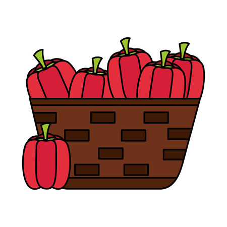 wicker basket with fresh peppers vector illustration vector illustration