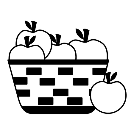 wicker basket with fresh apple vector illustration vector illustration