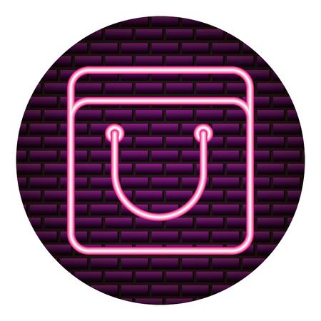 shopping bag neon brick wall vector illustration vector illustration