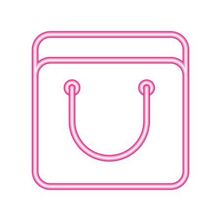 shopping bag neon white background vector illustration vector illustration