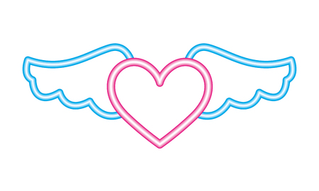 heart wings neon white background vector illustration vector illustration