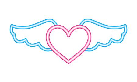 heart wings neon white background vector illustration vector illustration