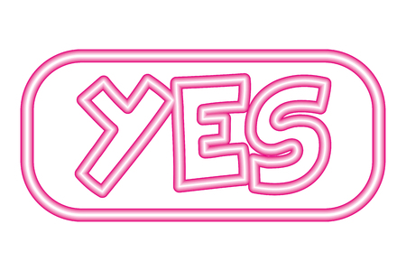 yes button neon white background vector illustration vector illustration Иллюстрация
