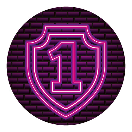 shield number one neon brick wall vector illustration vector illustration