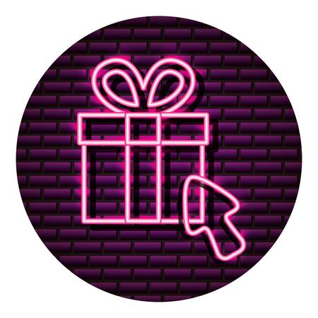 gift box shopping arrow neon brick wall vector illustration vector illustration