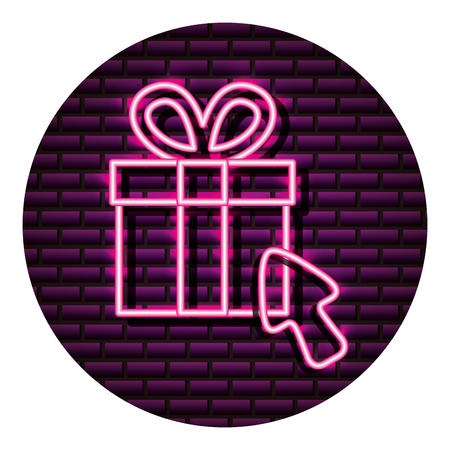 gift box shopping arrow neon brick wall vector illustration vector illustration