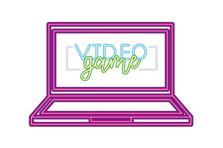 computer gadget neon video game vector illustration vector illustration