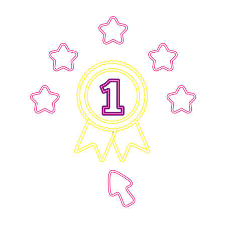 number one award neon video game vector illustration vector illustration
