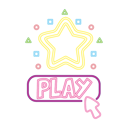 play star button neon video game vector illustration vector illustration  イラスト・ベクター素材