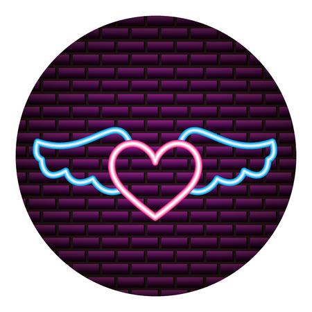 heart wings neon brick wall vector illustration vector illustration