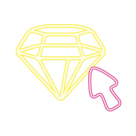 diamond arrow neon video game vector illustration vector illustration