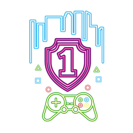 shield number one control neon video game vector illustration vector illustration Illusztráció