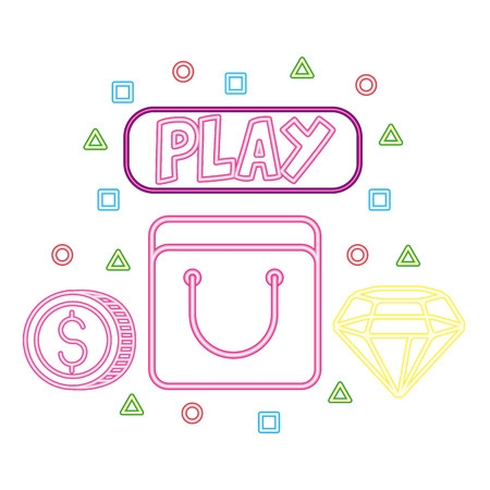 bag coin and diamond neon video game vector illustration vector illustration Illustration