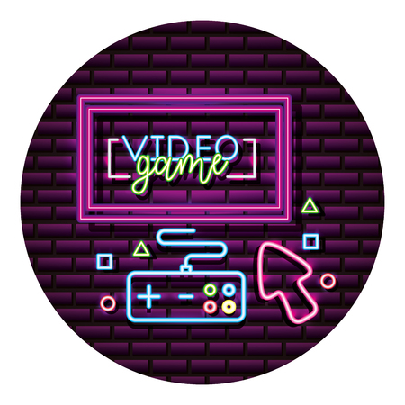 computer controller arrow neon video game wall vector illustration Stock fotó - 126821457