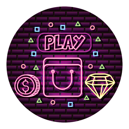 bag coin and diamond neon video game wall vector illustration Illusztráció