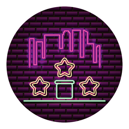 city star level neon video game wall vector illustration