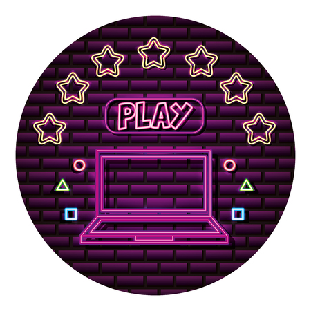 laptop play button neon video game wall vector illustration 向量圖像