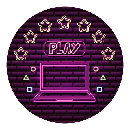 laptop play button neon video game wall vector illustration Ilustração