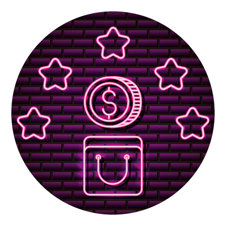 bag and coin stars neon brick wall vector illustration