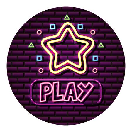 play star button neon video game wall vector illustration Standard-Bild - 113826487