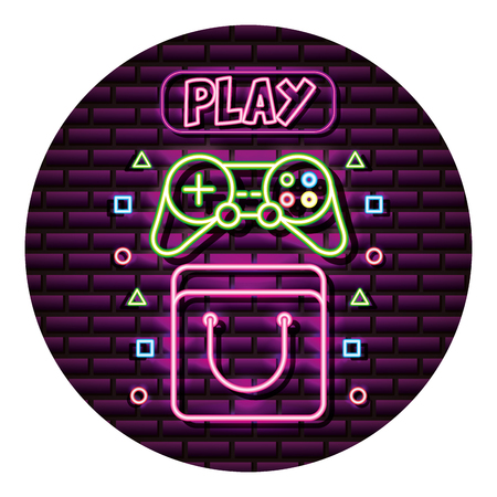 bag controller and play neon video game wall vector illustration Çizim