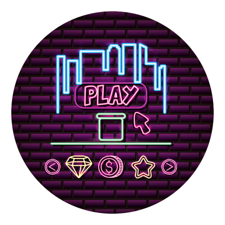screen play arrow neon video game wall vector illustration