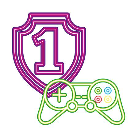 shield award controller neon video game vector illustration  イラスト・ベクター素材