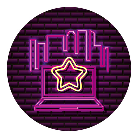 laptop star neon video game wall vector illustration