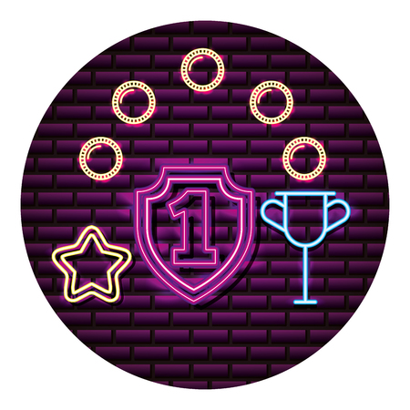 shield number one trophy neon video game wall vector illustration Illustration