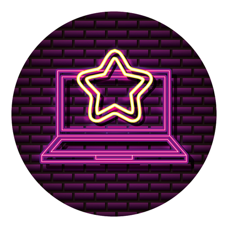 laptop star neon video game wall vector illustration Banco de Imagens - 113826492