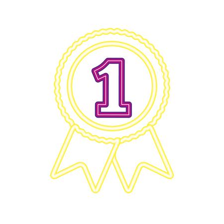 medal one award neon video game vector illustration vector illustration Banque d'images - 126821469