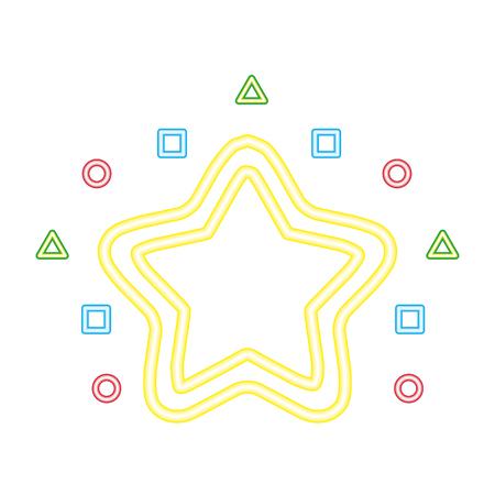 neon star geometric shapes white background vector illustration vector illustration Foto de archivo - 113826496