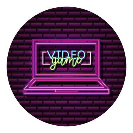 computer gadget neon video game wall vector illustration Illustration