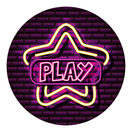 play star button neon video game wall vector illustration