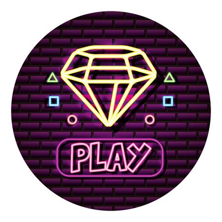 diamond play button neon video game wall vector illustration Illustration