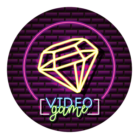 diamond neon video game wall vector illustration Standard-Bild - 113826497