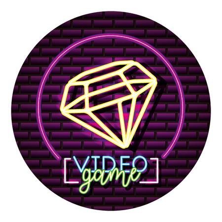 diamond neon video game wall vector illustration