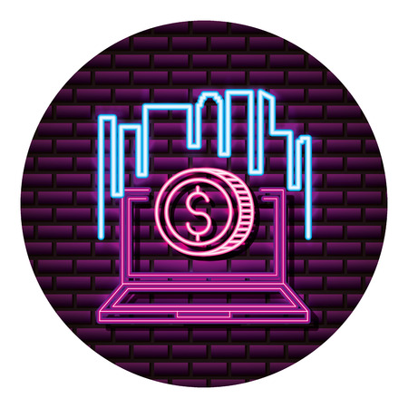 laptop money neon video game wall vector illustration
