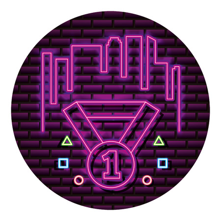 medal award number one neon video game wall vector illustration