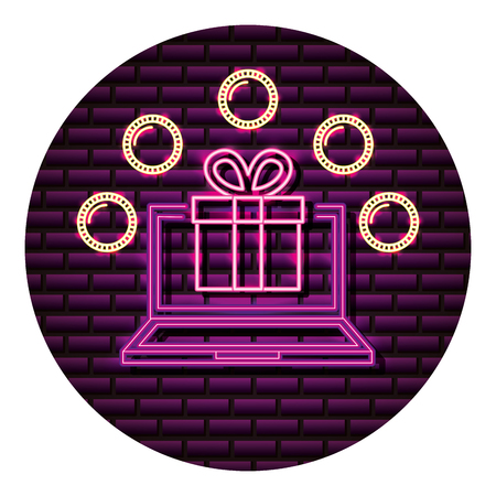 computer gift box coins neon video game vector illustration  イラスト・ベクター素材