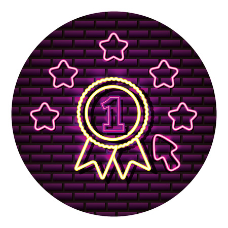 number one award neon video game wall vector illustration 向量圖像