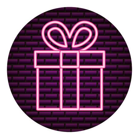 gift box neon video game vector illustration