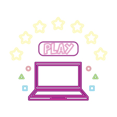 laptop play button neon video game vector illustration vector illustration