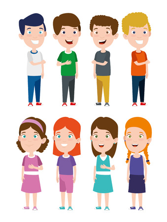 set boys and girls with hairstyle and clothes vector illustration