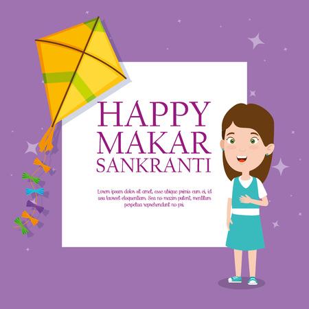 girl with kite to celebrate makar sankranti event vector illustration Çizim