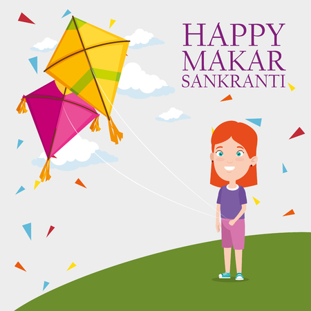 girl and kites to celebrate makar sankranti vector illustration