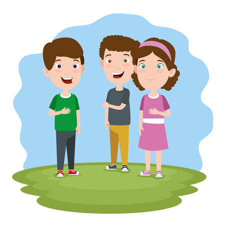 cute boys and girl children with clothes in the landscape vector illustration