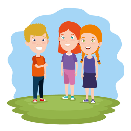 boy and cute girls children with clothes in the landscape vector illustration