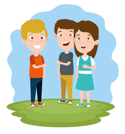 cute boys and girl children with clothes vector illustration Illustration
